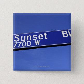 Sunset Boulevard sign against a blue sky 15 Cm Square Badge