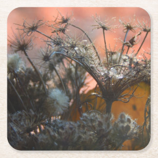 Sunset Branches Coaster 3 Square Paper Coaster