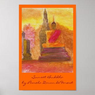 Sunset Buddha Poster