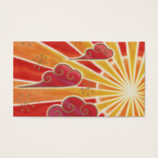 Sunset business card template orange back