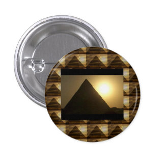 Sunset by PYRAMIDS of Egypt : Vintage Architecture 3 Cm Round Badge