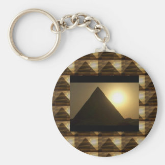 Sunset by PYRAMIDS of Egypt : Vintage Architecture Basic Round Button Key Ring
