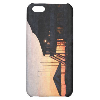 sunset by the lake waterfront with deck buildings iPhone 5C case