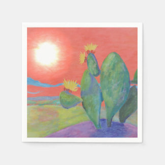 Sunset Cactus Napkin Paper Napkin