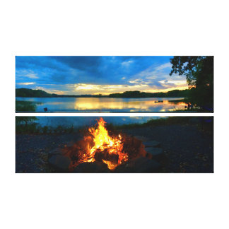 "Sunset / Campfire     28""x17"" Canvas Print"