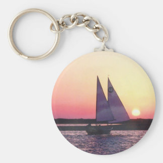 Sunset Cat Ketch Sailboat Key Ring
