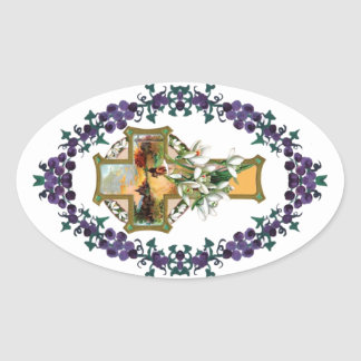 Sunset Christian Cross Oval Sticker