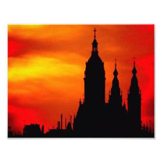 Sunset Church Silhouettes Photo Art