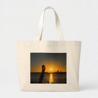 Sunset Cityscape Scene, Montevideo, Uruguay Large Tote Bag