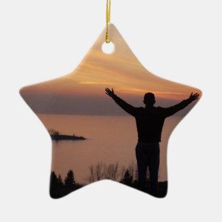 Sunset Cliff Ceramic Ornament