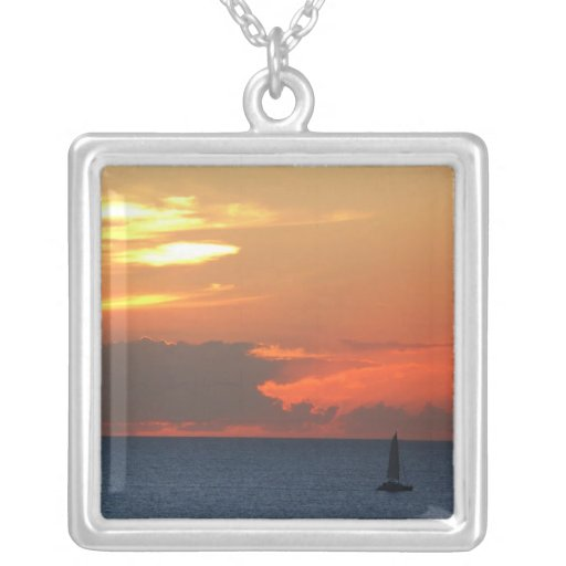 Sunset Clouds and Sailboat Necklace