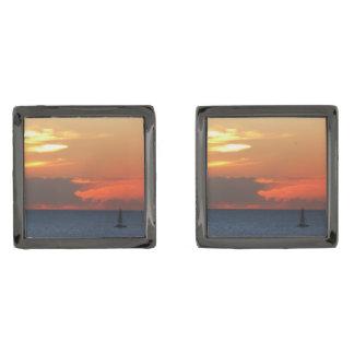 Sunset Clouds and Sailboat Seascape Gunmetal Finish Cufflinks