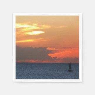 Sunset Clouds and Sailboat Seascape Paper Serviettes
