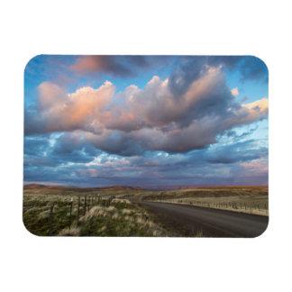 Sunset Clouds Over Gravel Zumwalt Prairie Road Flexible Magnet