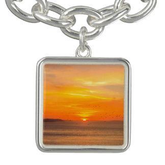 Sunset  Coast with Orange Sun and Birds