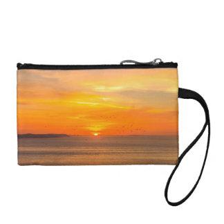 Sunset Coast with Orange Sun and Birds Coin Purse