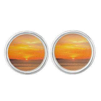 Sunset  Coast with Orange Sun and Birds Cuff Links