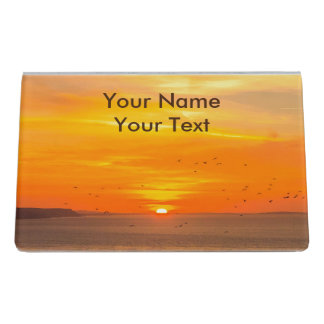 Sunset Coast with Orange Sun and Birds Desk Business Card Holder