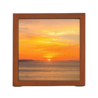 Sunset  Coast with Orange Sun and Birds Desk Organiser
