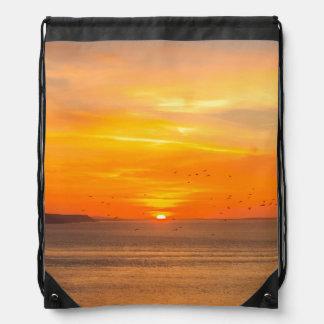 Sunset  Coast with Orange Sun and Birds Drawstring Bag