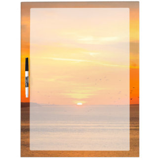 Sunset Coast with Orange Sun and Birds Dry Erase Board