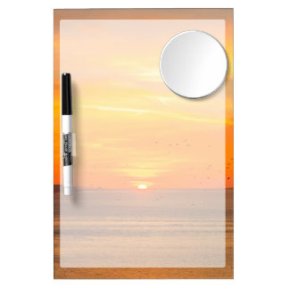 Sunset Coast with Orange Sun and Birds Dry Erase Board With Mirror