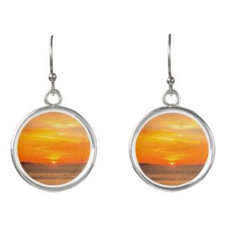 Sunset  Coast with Orange Sun and Birds Earrings
