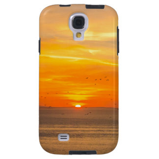 Sunset Coast with Orange Sun and Birds Galaxy S4 Case