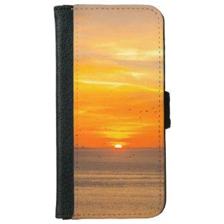 Sunset Coast with Orange Sun and Birds iPhone 6 Wallet Case