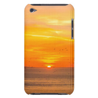Sunset Coast with Orange Sun and Birds iPod Case-Mate Cases