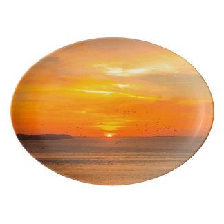 Sunset Coast with Orange Sun and Birds Porcelain Serving Platter