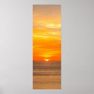 Sunset Coast with Orange Sun and Birds Poster