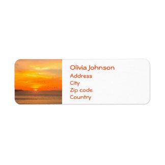 Sunset  Coast with Orange Sun and Birds Return Address Label