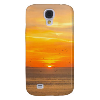 Sunset Coast with Orange Sun and Birds Samsung Galaxy S4 Case