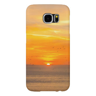 Sunset Coast with Orange Sun and Birds Samsung Galaxy S6 Cases