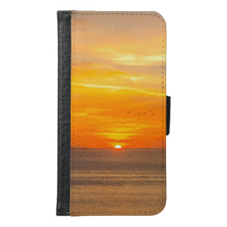 Sunset Coast with Orange Sun and Birds Samsung Galaxy S6 Wallet Case