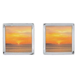 Sunset  Coast with Orange Sun and Birds Silver Finish Cuff Links