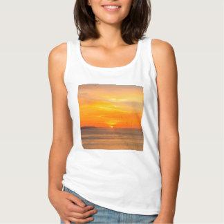 Sunset  Coast with Orange Sun and Birds Singlet