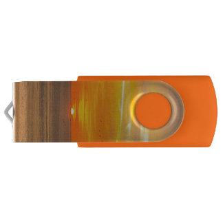 Sunset Coast with Orange Sun and Birds USB Flash Drive