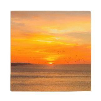 Sunset  Coast with Orange Sun and Birds Wood Coaster