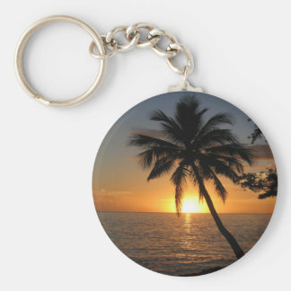 Sunset coconut palm tree Fiji peace and joy Basic Round Button Key Ring