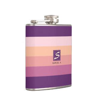 Sunset Color Palette Stripe Monogram Hip Flask