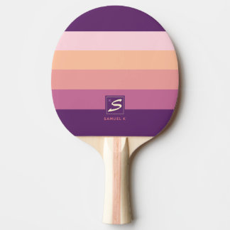 Sunset Color Palette Stripe Monogram Ping Pong Paddle