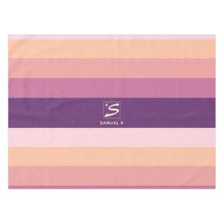 Sunset Color Palette Stripe Monogram Tablecloth