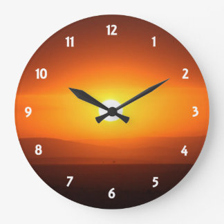 sunset colors large clock