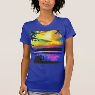 SUNSET COLORS ON LAPIS BLUE JERSEY TSHIRT
