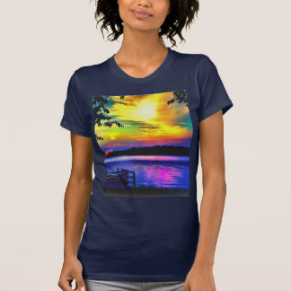 SUNSET COLORS ON NAVY BLUE JERSEY TSHIRT