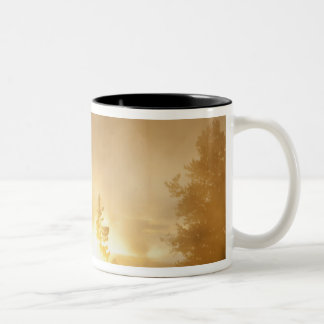 Sunset colors the steam above Leather Pool in Two-Tone Mug