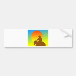 Sunset Cowboy Car Bumper Sticker