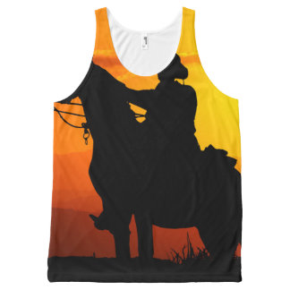 Sunset cowboy-Cowboy-sunshine-western-country All-Over Print Singlet